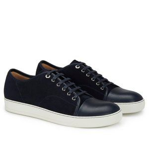 Lanvin DBB1 Suede and Leather Sneakers Navy Blue